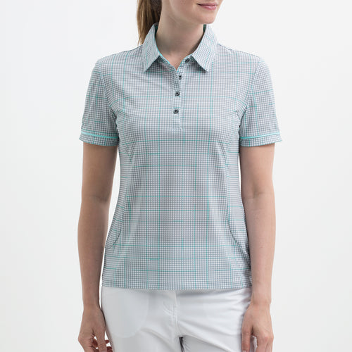 Nivo Women's Vivica Grey Check Polo Shirt Product Image Front NI8210115
