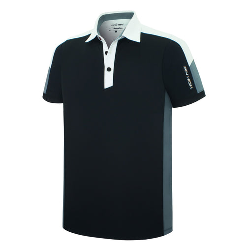 Pin High Men's Black Santon Golf Polo Shirt Product Image Front