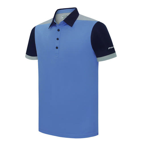 Pin High Men's Blue Enzo Golf Polo Shirt Product Image Front