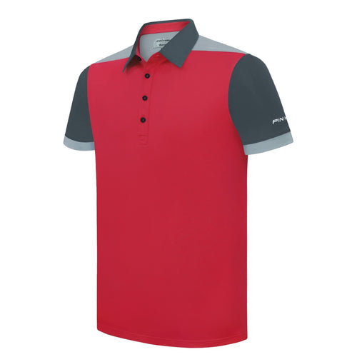 Pin High Men's Red Enzo Golf Polo Shirt Product Image Front
