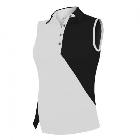 Pin High Women's Candy White & Black Sleeveless Polo Shirt Product Image Front