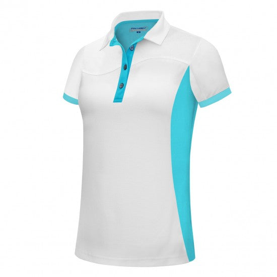 Pin High Womens Wave 2 White & Capri Polo Shirt Product Image Front