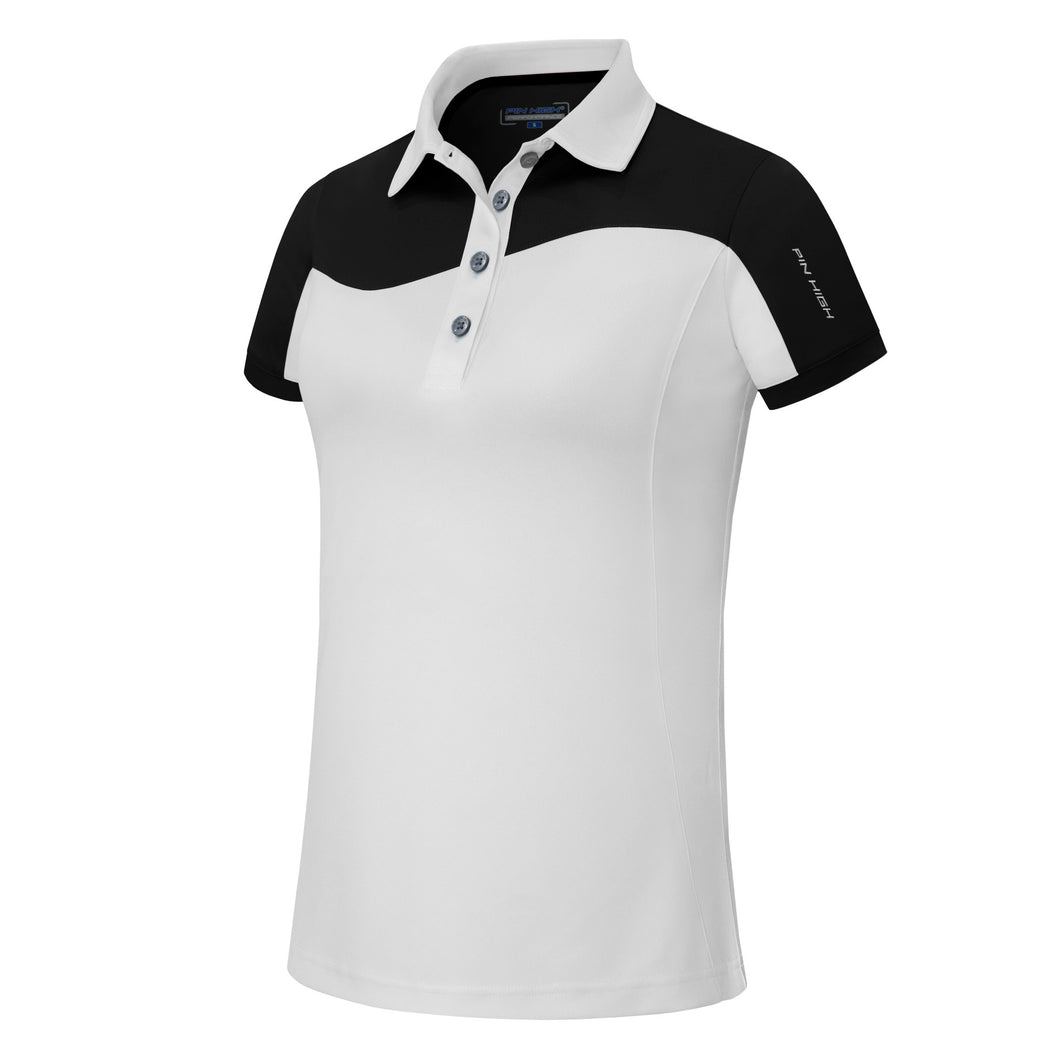 Pin High Womens Wave White & Black Polo Shirt Product Image Front
