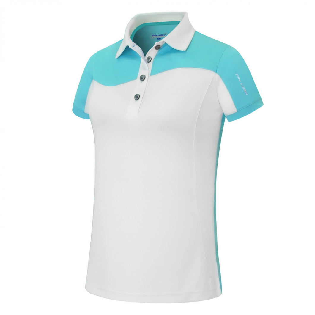 Pin High Womens Wave White & Capri Polo Shirt Product Image Front