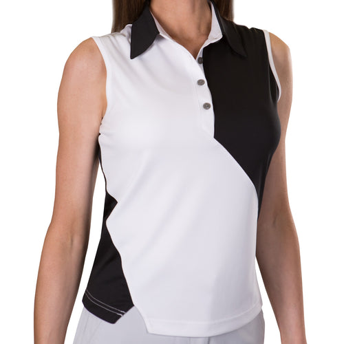 Pin High Women's Candy White & Black Sleeveless Polo Shirt Product Front PHSH252