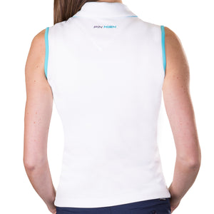 Pin High Women's Gwen White & Capri Sleeveless Polo Shirt Back PHSH213
