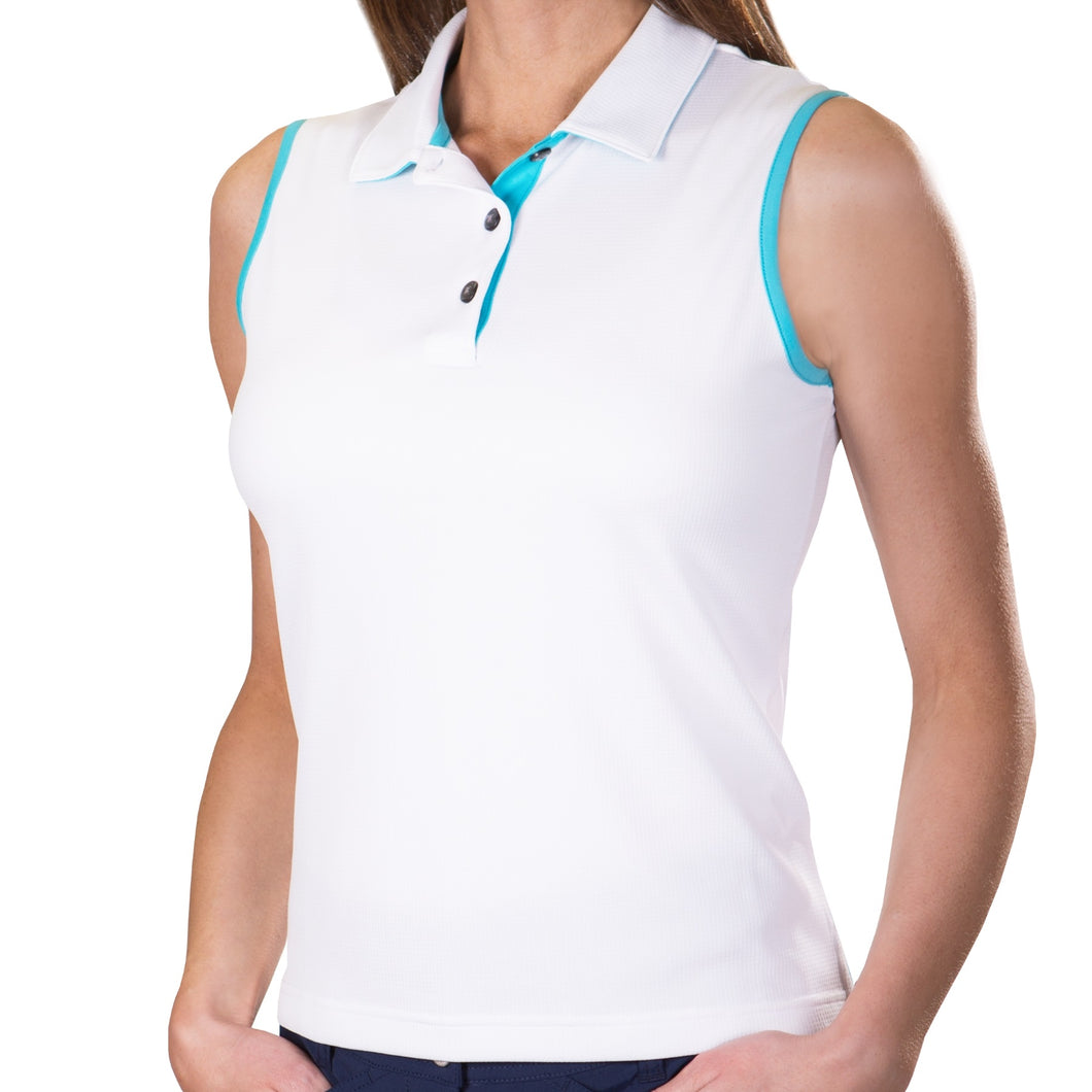 Pin High Women's Gwen White & Capri Sleeveless Polo Shirt Front PHSH213
