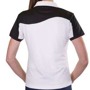 Pin High Women's Wave White & Black Polo Shirt Model Image Back PHSH214