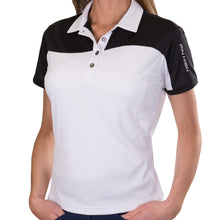 Pin High Women's Wave White & Black Polo Shirt Model Image Front PHSH214
