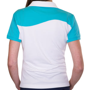 Pin High Women's Wave White & Capri Polo Shirt Model Image Back PHSH214