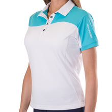 Pin High Women's Wave White & Capri Polo Shirt Model Image Front PHSH214