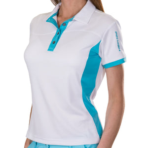 Pin High Women's Wave White Polo Shirt Model Image Front PHSH214