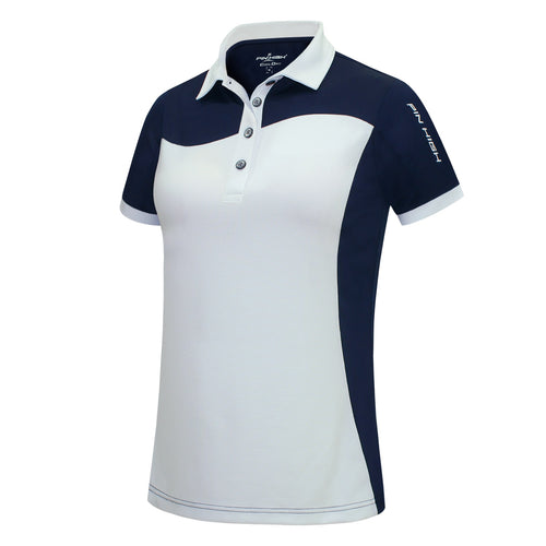 Pin High Women's Wave White & Navy Polo Shirt Front PHSH214
