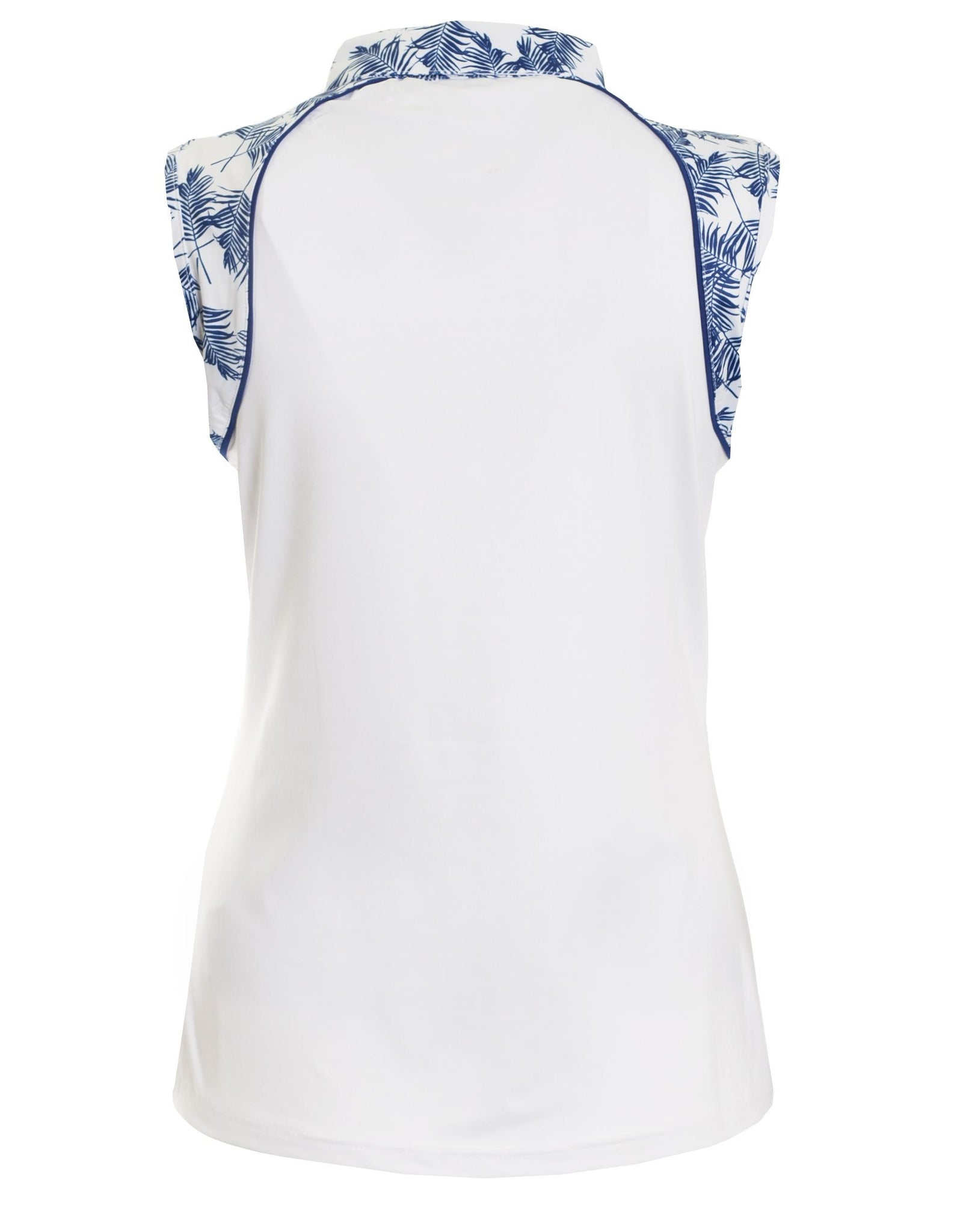 2ac944d24a159 ... Green Lamb Women s Piper Sleeveless Polo Shirt White   Ocean Blue  Product Image Back SG18679