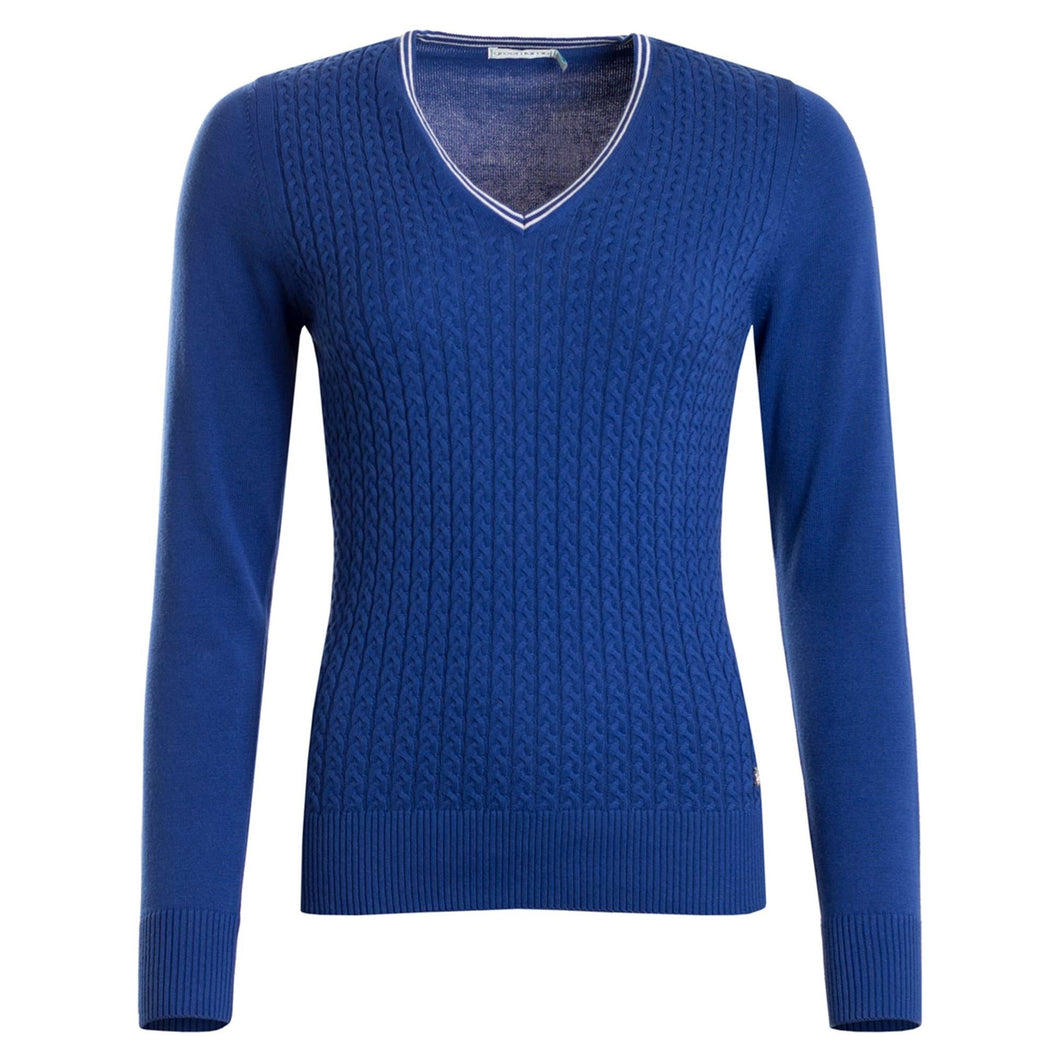 Green Lamb Women's Brid Cable Knit Sweater Ocean Blue Product Image Front SG18686