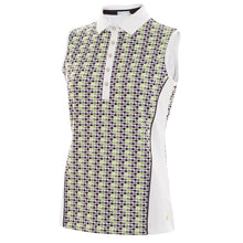SG19737 Green Lamb Ladies Philomena White and Green Sleeveless Polo Shirt Product Image Front