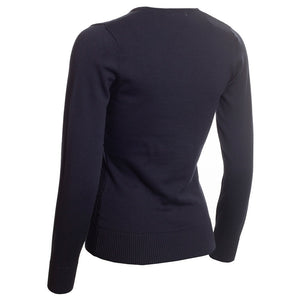 SG20817 Green Lamb Ladies Gerda Navy V-Neck Cable Sweater Product Image Back