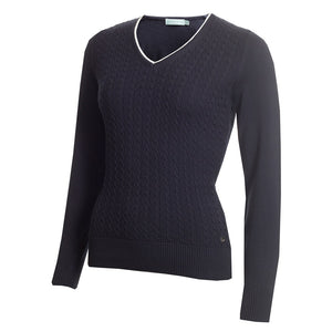 SG20817 Green Lamb Ladies Gerda Navy V-Neck Cable Sweater Product Image Front