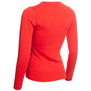 SG20817 Green Lamb Ladies Gerda Red V-Neck Cable Sweater Product Image Red