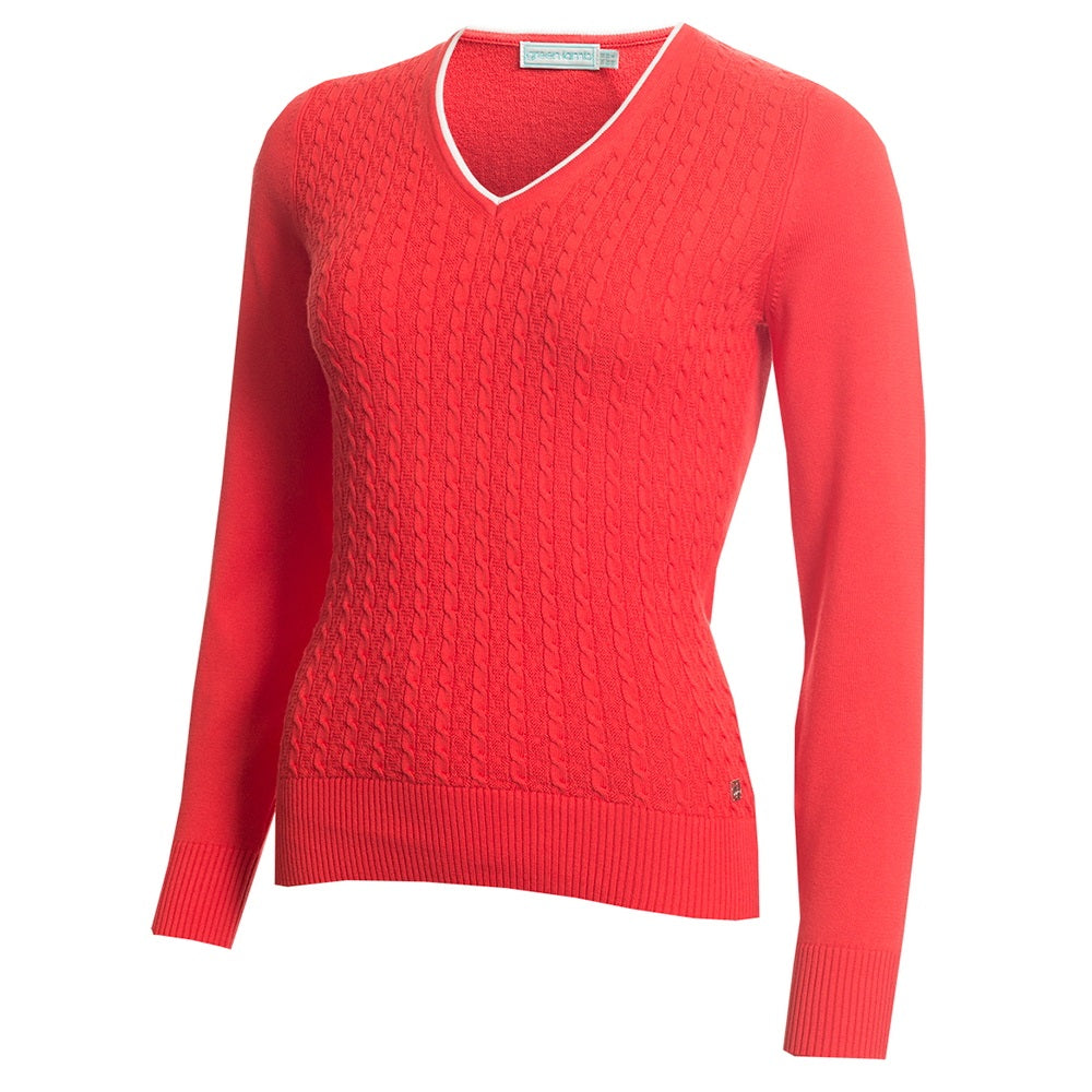 SG20817 Green Lamb Ladies Gerda Red V-Neck Cable Sweater Product Image Front