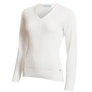 SG20817 Green Lamb Ladies Gerda White V-Neck Cable Sweater Product Image Front