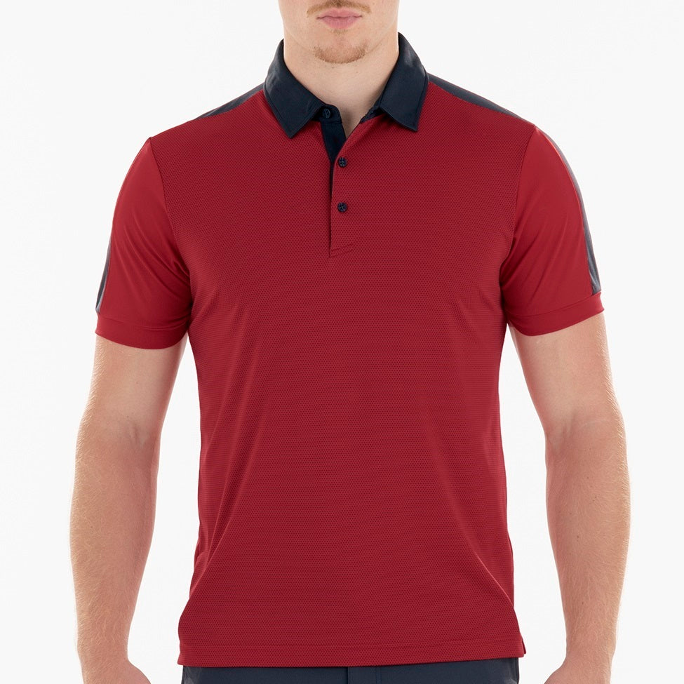 SL20011 Sligo Mens Teddy Red Interlock Polo Shirt Product Image Front