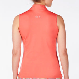 NI9210122 Nivo Women's Gracie Sunkist Coral Sleeveless Polo Shirt Product Image Back