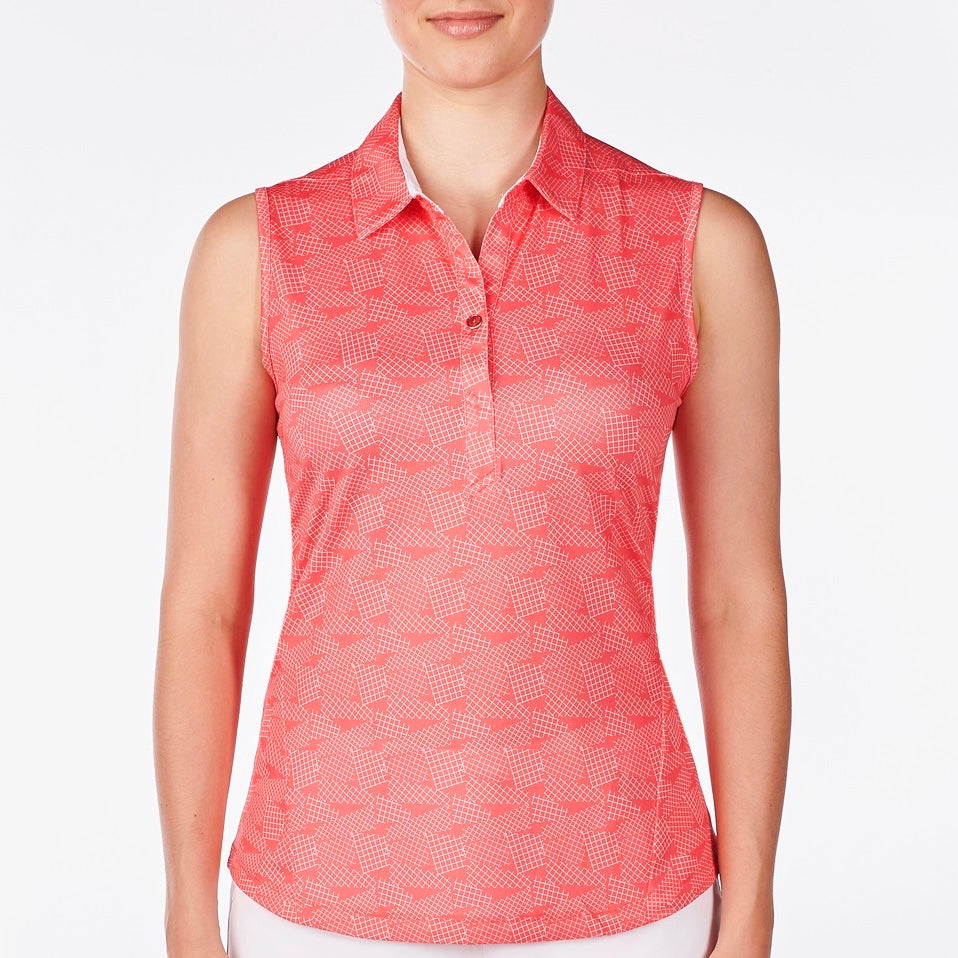 NI9210124 Nivo Women's Gillian Sunkist Coral Sleeveless Polo Shirt Product Image Front