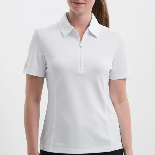 NI8210100 Nivo Women's Natasha White Essentials Polo Shirt Product Image Front