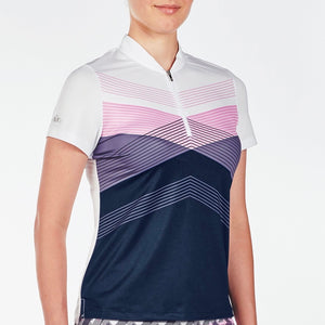 NI9210113 Nivo Women's Alicia Light Navy & White Mesh Polo Shirt Product Image Side
