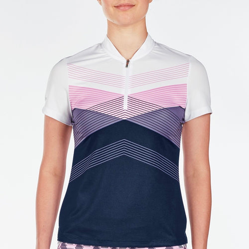 NI9210113 Nivo Women's Alicia Light Navy & White Mesh Polo Shirt Product Image Front