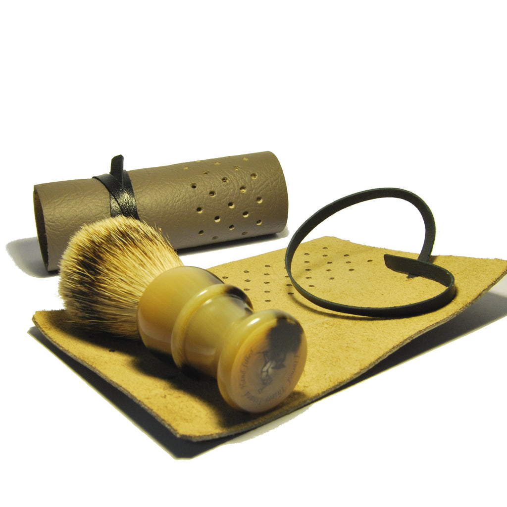 Luxury Shaving Brush with Leather Wrap