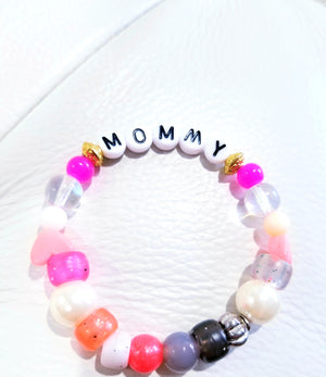 letter block beaded bracelets, childrens name bracelets, beaded name bracelets, letter name bracelet, mommy beaded bracelets, mom beaded bracelet, mom bracelet, mothers day jewelry gifts, mom to be gifts, grandmother to be gift, grandmother bracelets,