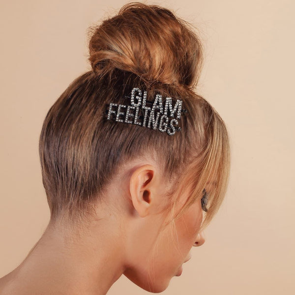 Rich text hair pin, message hair bobby pin, statement hair barrettes, hair trends, runway hair accessory jewelry trends for summer spring 2019, pash jewels, pashjewels, jewelry from the runway, shiny bobby pins, rhinestone bobby pins, hair clips that say something, one word hair clip, big letter clip, boss hair clip, glam hair pin, cubic zirconia hair pins, word letter message scripted hair clips barrettes pins slides earring jewelry necklace bracelets, affordable cheap fashion accessories costume jewelry celebrity styles