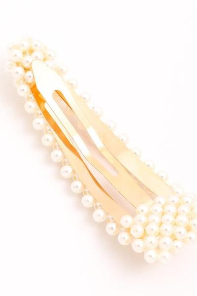 Over-sized Faux Pearl Hair Pin in Gold