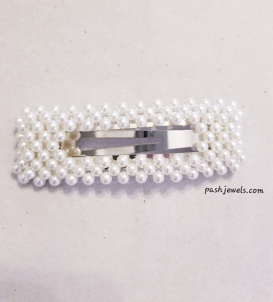 Over-sized Rectangle Faux Pearl Hair Clip in Silver
