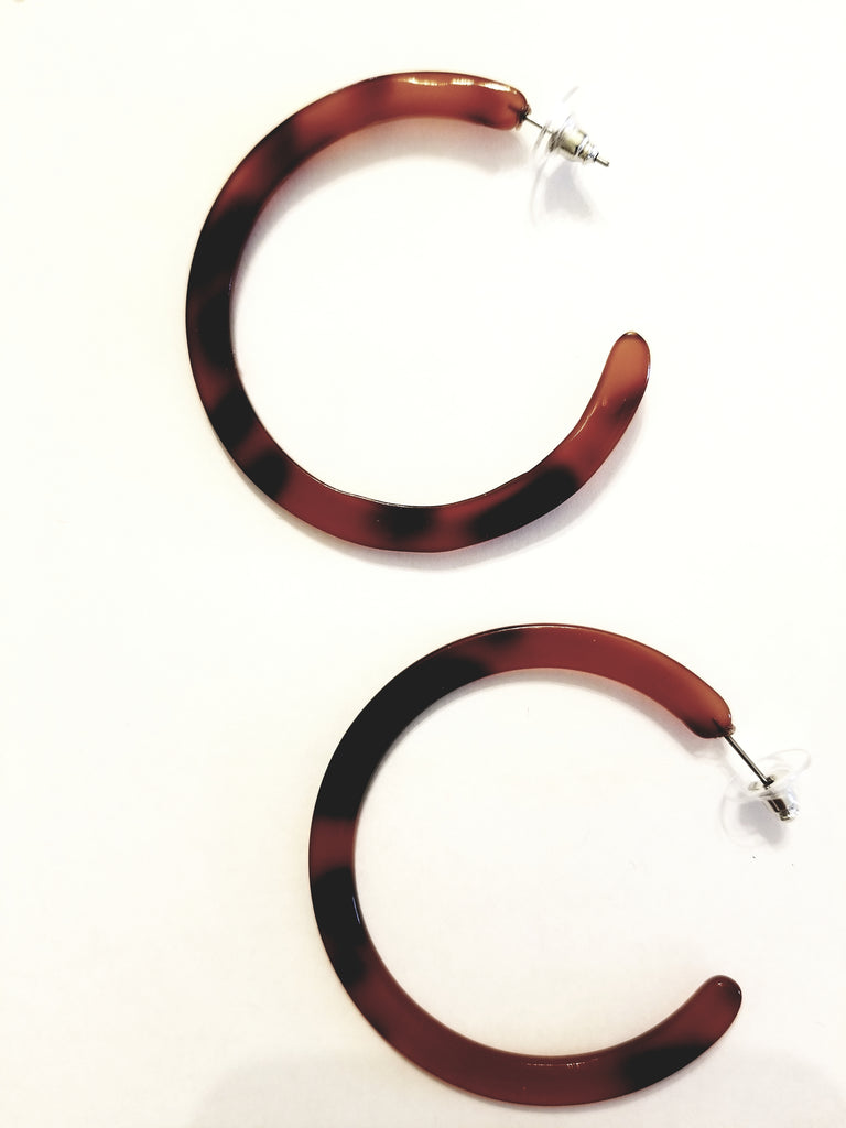 Flat Leopard Resin Hoop Earrings