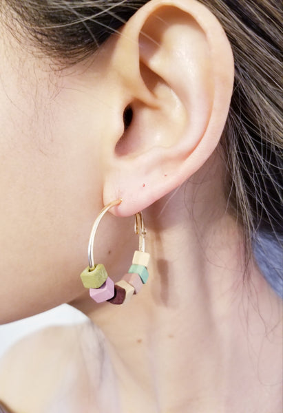 Pastel Block Hoop Earrings
