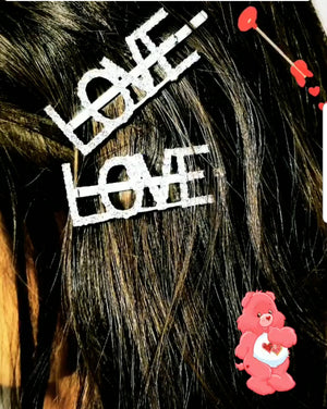 LOVE RHINESTONE MESSAGE BOBBY PIN