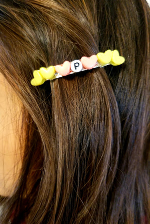 cute hair pins, handmade initial hair clips, custom hair pins, handmade hair accessories,
