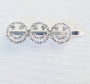 rhinestone hair pin styles, how to wear rhinestone bobby pins, rhinestone bobby pin trend, smile hair pin, emoticon rhinestone hair pin, emotion mood accessories, emoji kids accessories, emoji rhinestone accessories, emoji crystal hair accessories, rhinestone bobby pins, oversized rhinestone hair clips, shiny clips for hair, silver crystal hair decoration, bridal hair accessories, affordable wedding hair style accessories,