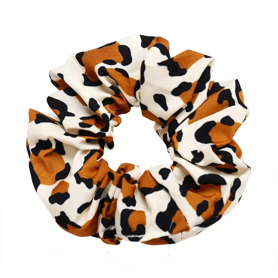leopard scrunchie, animal print scrunchies, cheetah print scrunchie, fall print scrunchies, trendy printed scrunchies, brown spotted scrunchie, brown, black, white scrunchie, black and brown spot animal leopard print scrunchies, scrunchie set, cotton scrunchies in animal prints, elastic scrunchie, hair accessories, leopard print hair ties, leopard pony tail holders, animal color hair tie scrunchie, fabric hair band, headbands, leopard headbands, animal design hair holders, pash jewels, pashjewels