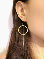 14 K Gold Round Chain Hook Earring