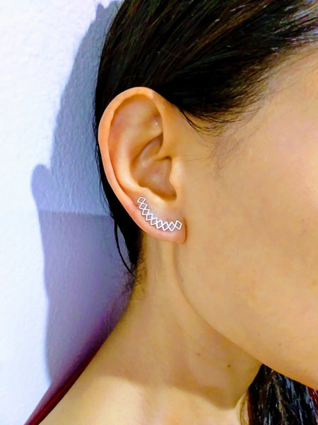 Geometric Cut Out Diamond Ear Climber
