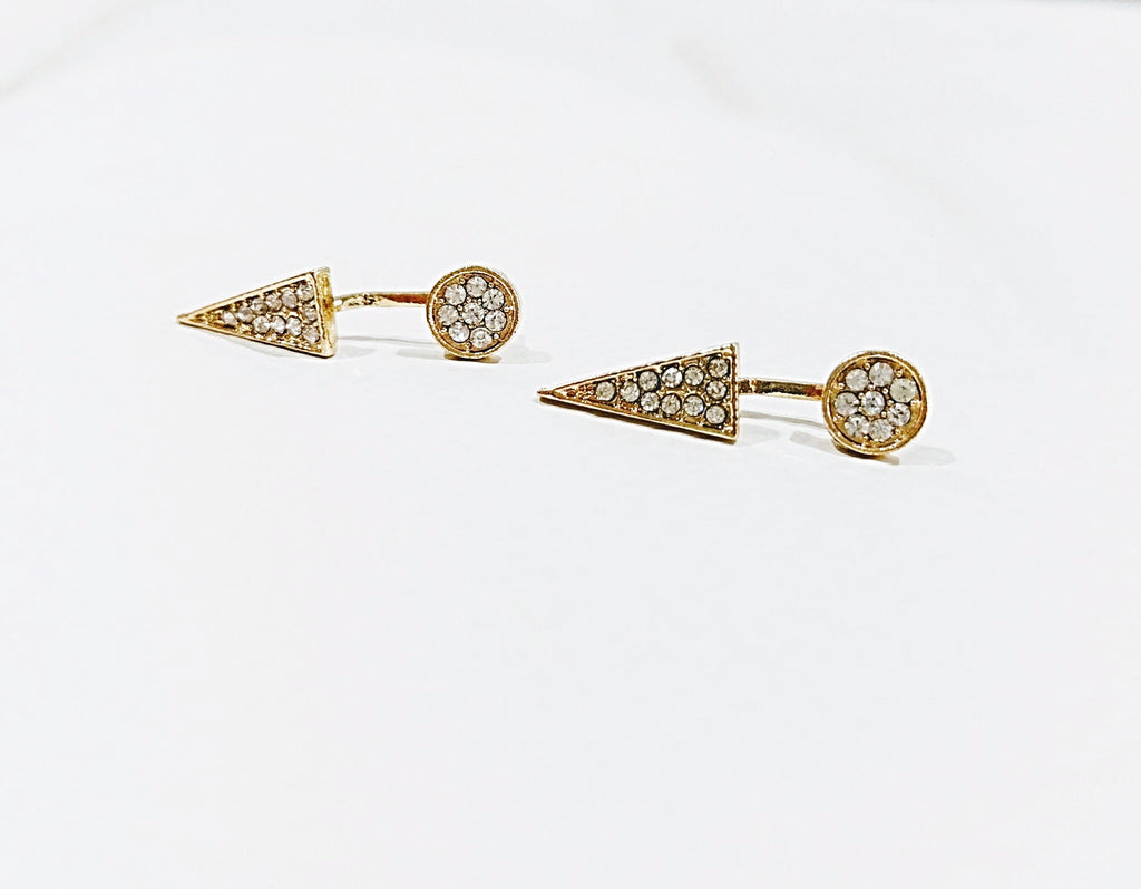 CZ Triangle Round Pave Stud Ear Jacket