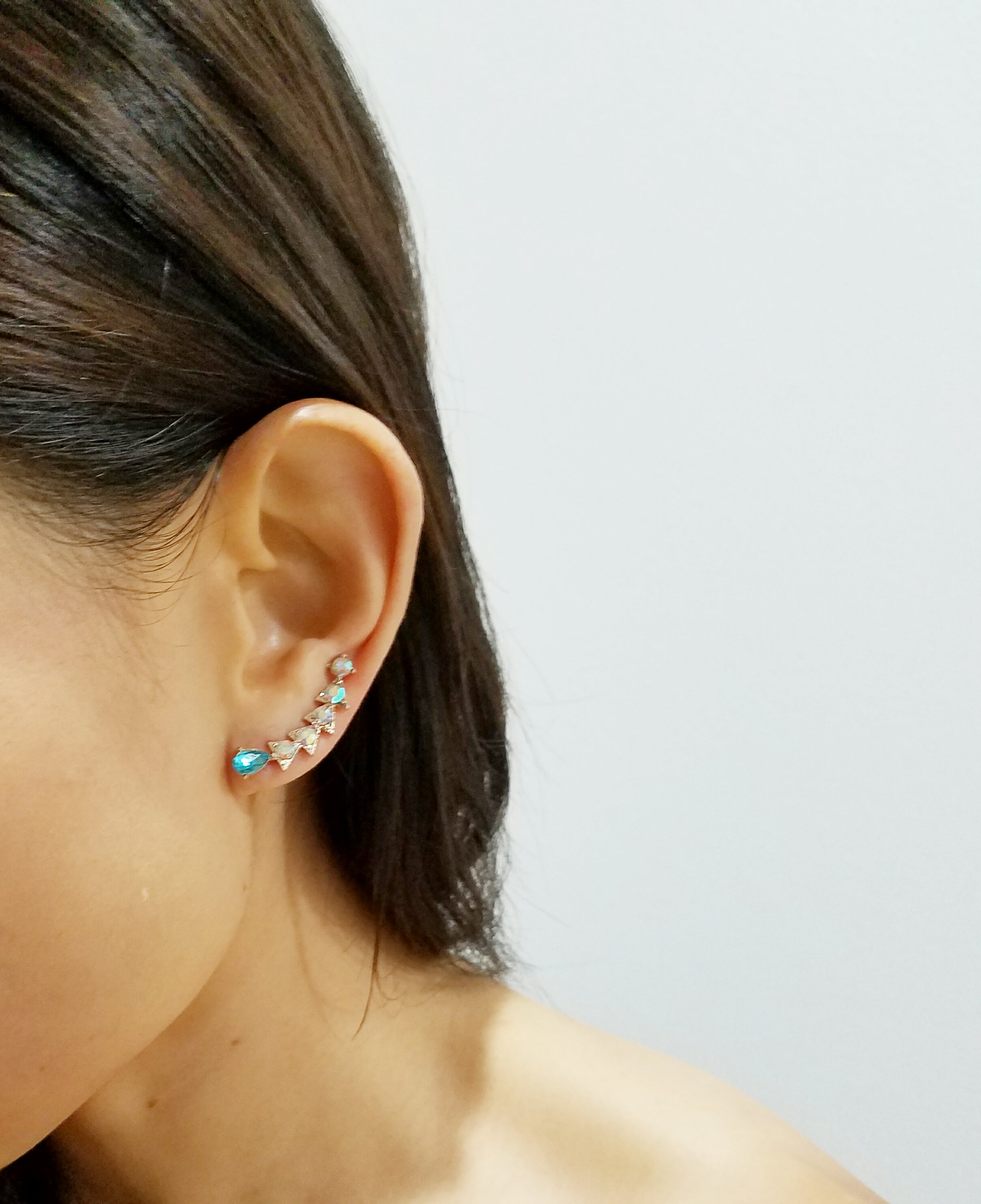 Iridescent Pave Triangle CZ Ear Climbers-Blue