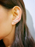 Iridescent Pave Triangle CZ Ear Climbers-Clear White