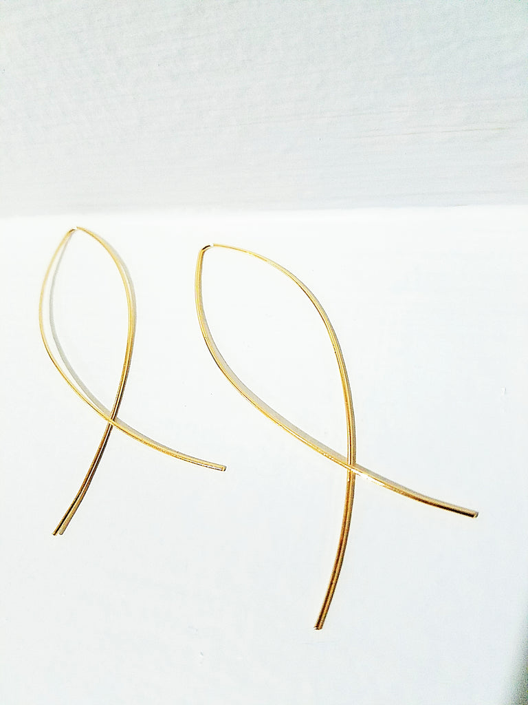 14 K Gold Essential Minimalist Fish Threaders