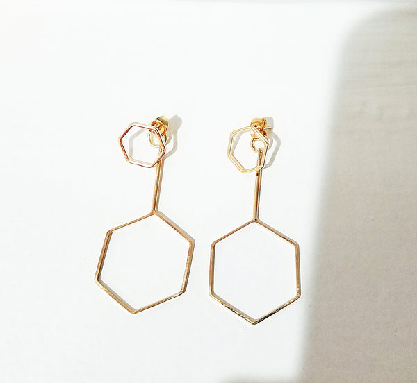 14 K Gold Hexagon Ear Jacket