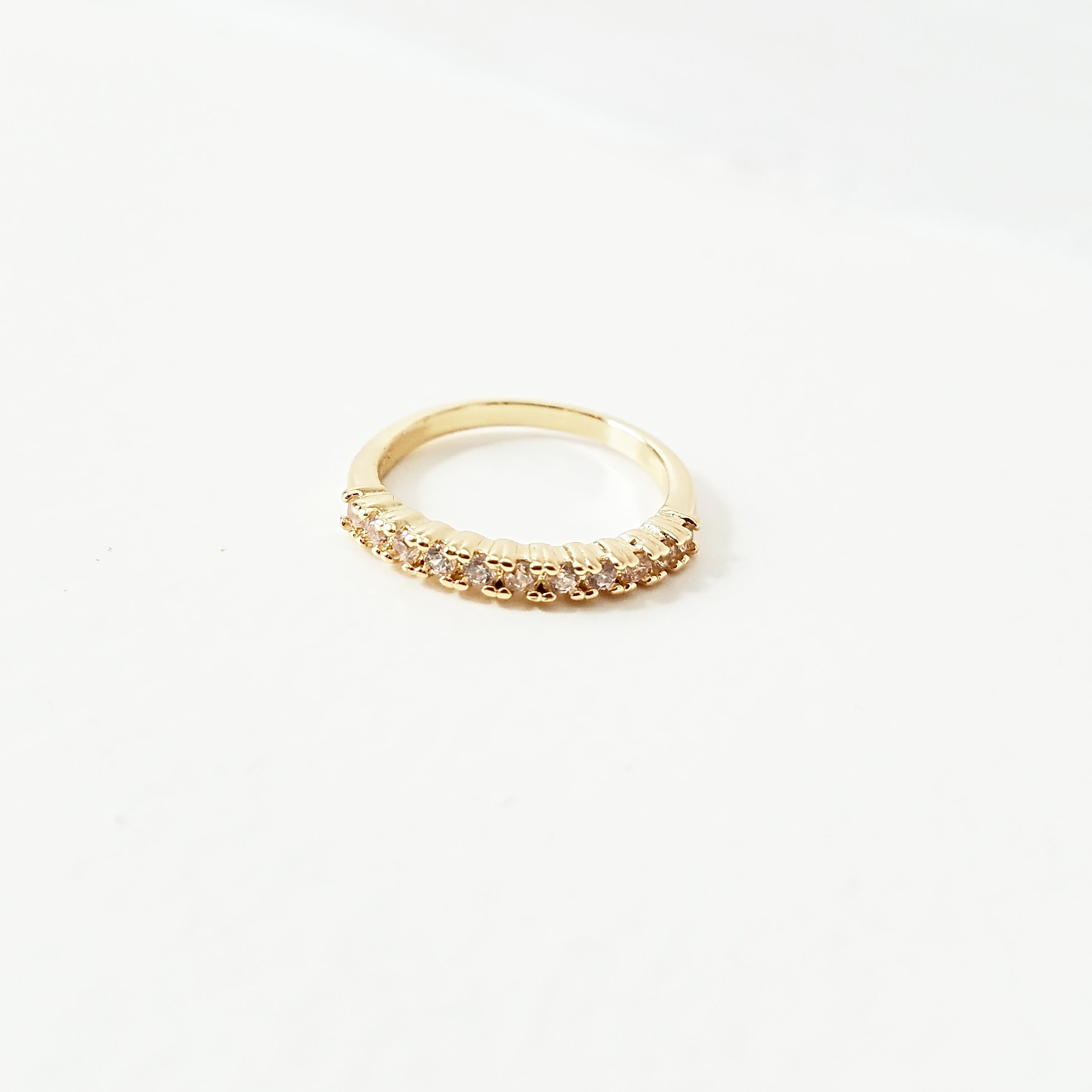 18 K Gold Half Eternity Pave Stacking Ring